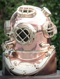 antique navy diving helmet, restored and polished